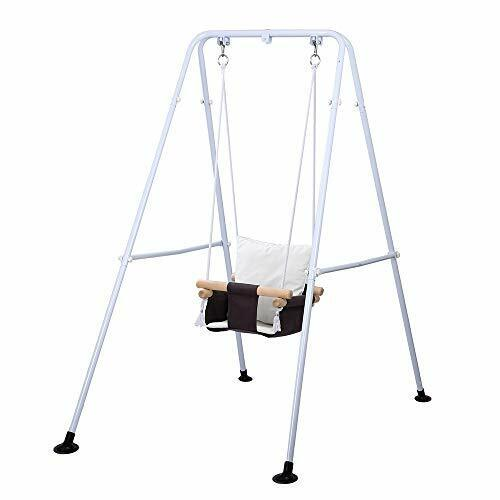Toddler Swing, Outdoor Indoor Swing Set with Safety Canvas Cushion Seat, Baby
