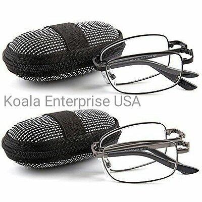 2 Pair Foldable Readers Portable Nylon Zip Cases Folding Reading (Foldaway Glasses)