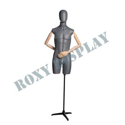 Male Matt Grey Egghead Wooden Arms Mannequin Dress Form Display Mz-qs6