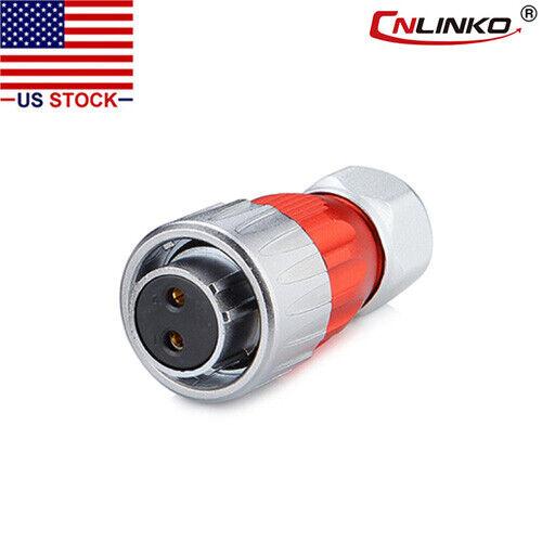 CNLINKO 2 Pin Power Circular Connector Female Plug Waterproof IP67 Metal