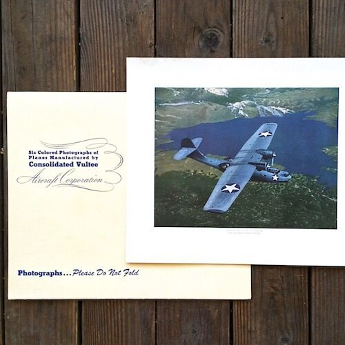 Original WWII CONSOLIDATED VULTEE AIRPLANE Lithograph Print Collection 1940s
