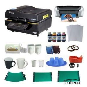 3D Sublimation Vacuum Machine Mug Printer CISS Ink Paper Business Bundle  000948
