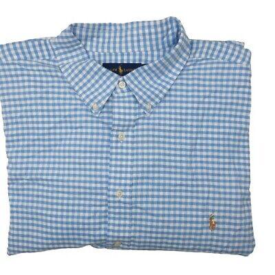 Ralph Lauren Men's 2XLT Blue Gingham Plaid Long Sleeve Button Up Shirt