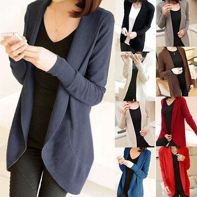 Ladies Womens Long Sleeve Knit Open Front Cardigan Tops Jacket Jumper Sweaters