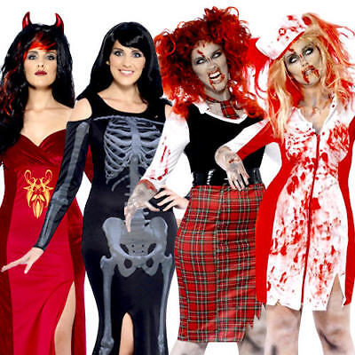 Halloween Plus Size Ladies Fancy Dress Spooky Scary Undead Adults Costumes New - Scary Plus Size Costumes