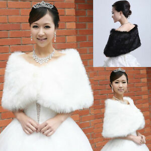 White & Black Fur Shrugs Wraps Wedding Prom etc. XXS, XS, S -New