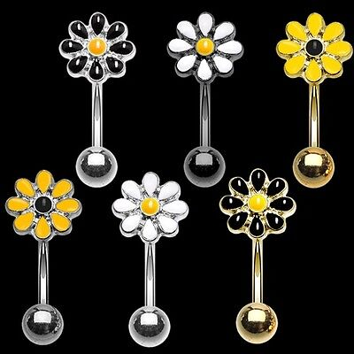 Golden Dainty Daisy Curved Barbell Eyebrow Ring Silver Black Yellow White -