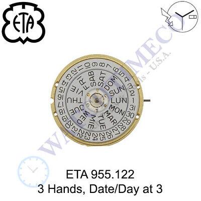 Genuine ETA 955.122 Watch Movement Swiss 3 Hands, Date/Day at 3