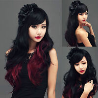 BRAND NEW Deluxe Long Wavy Black-Red Ombre Cosplay Wig