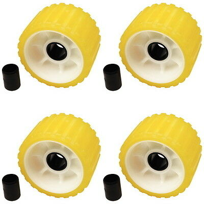 4 Pack 3 Inch Wide x 5 Inch OD Boat Trailer Yellow Rubber Ribbed Wobble Rollers