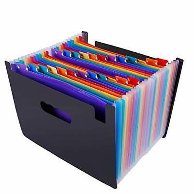 File Organizer Accordion File Folder 24 Pockets Multi-color Plastic Stand Bag Us