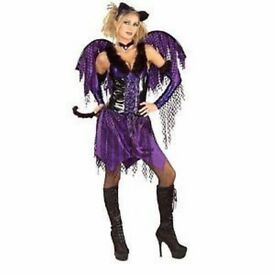 PURPLE WINGED KITTY CAT FANCY DRESS OUTFIT SIZE 10/12 GREAT FOR HALLOWEEN