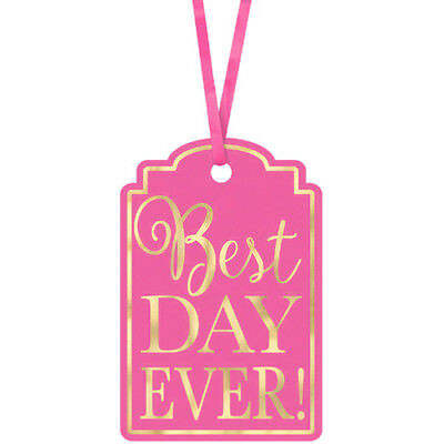WEDDING AND BRIDAL Best Day Ever BRIGHT PINK TAGS (25) ~ Party Supplies Gift