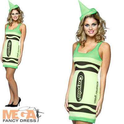 Green Crayola Crayon Dress + Hat Ladies Fancy Dress Book Adult Womens Costume - Green Crayon Kostüm