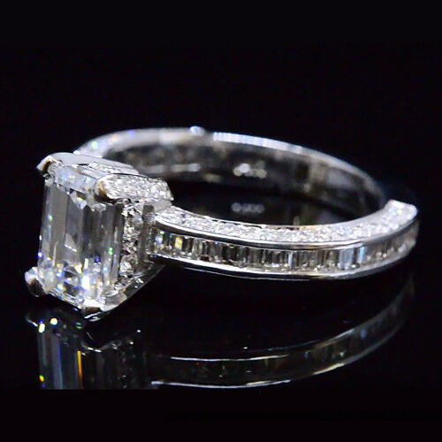 2.25Ct Emerald Cut Diamond Channel & Micro Pave Engagement Ring D,VS2 GIA 14K WG 1