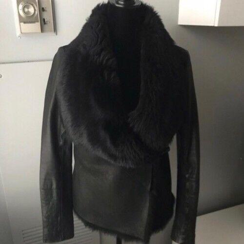 Allsaints Sheep Skin Leather Jacket Fur Collar Worn Once Retail