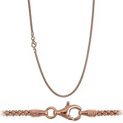 18K Pink Rose Gold over 925 Sterling Silver 1.9mm Italian Popcorn Chain -