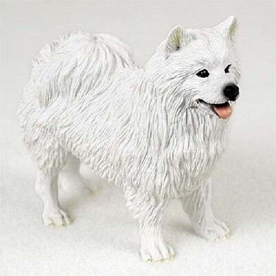 AMERICAN ESKIMO Dog HAND PAINTED FIGURINE Resin Statue COLLECTIBLE puppy NEW