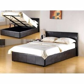 FREE DELIVERY QUALITY KING SIZE 5FT LEATHER STORAGE BED WITH CROWN FULL ORTHOPEDIC MATTRESS