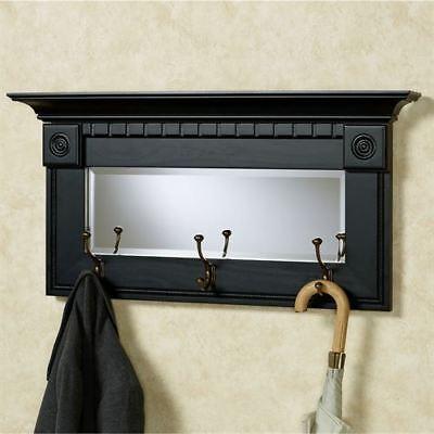 Dentil Pediment Wall Mirror Black