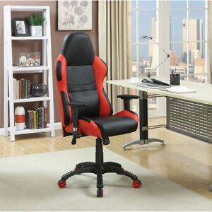 Executive Bonded Faux Leather Task Chair - Black/Red