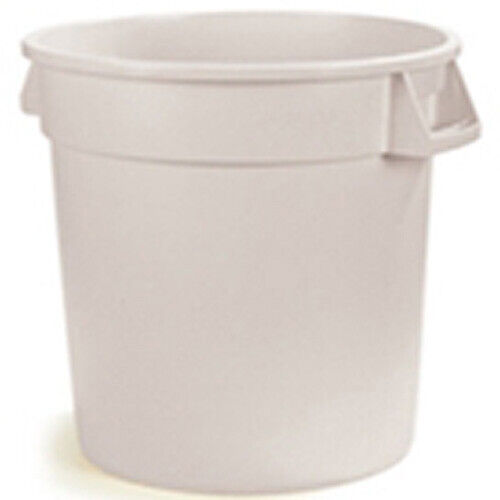 Round Waste Container - 10 Gallon Capacity, White