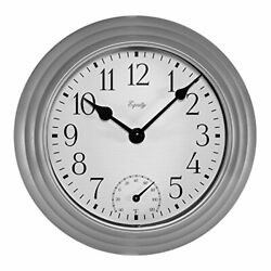 Equity by La Crosse 29007 Outdoor Thermometer & Humdity Wall Clock, 8, Metallic