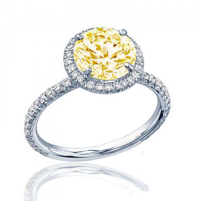 Estate Style Diamond Engagement Ring GIA Certified 3.25 CT Round Fancy Yellow