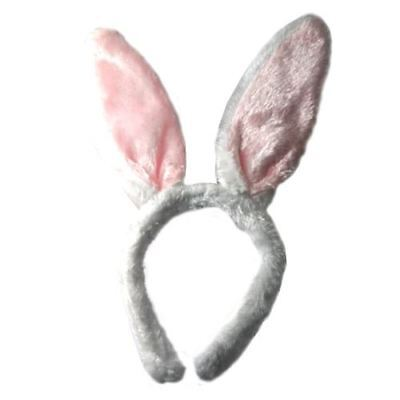 Pink & White Bunny Rabbit Ears Alice Band Headband Fancy Dress Party Easter  - Alice Bunny Costume