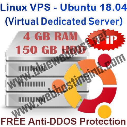 Linux Vps - Ubuntu 18.04 (virtual Dedicated Server) 4gb Ram + 150gb Hdd