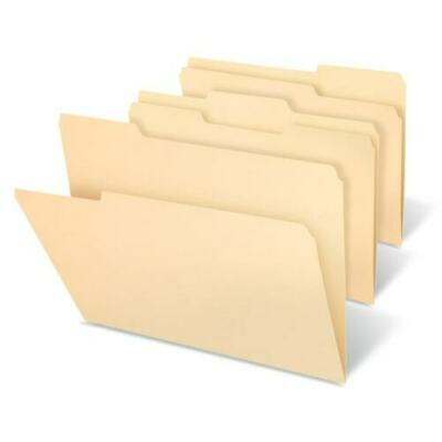Quill Manila File Folders Legal Size 11pt 13 Cut Assorted 2-ply Tabs 61 Pcs