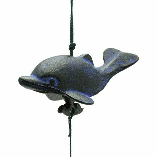 Japanese FURIN Wind Chimes Black & Blue Dolphin Design Cast Iron Made in Japan