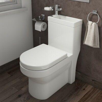 P2 Combination Toilet and Sink Under Stairs Modern Gloss White Bathroom Compact