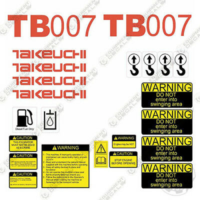 Takeuchi Tb 007 Mini Excavator Decals Equipment Decals Tb007 Tb-007 Tb07 Tb 07