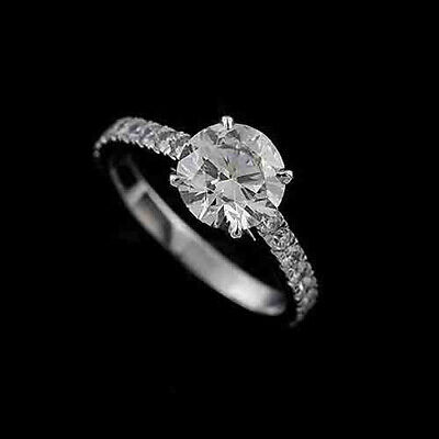 Cut Down Micro Pave Diamond Modern Platinum 950 Engagement Ring Mounting ()