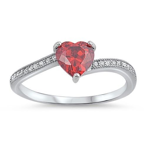 heart shaped red garnet with cubic zirconia 925 sterling. Black Bedroom Furniture Sets. Home Design Ideas