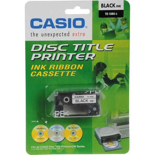 10 Pk Casio Tr-18bk Black Ribbon Cassettes For Cw-50 / 75...