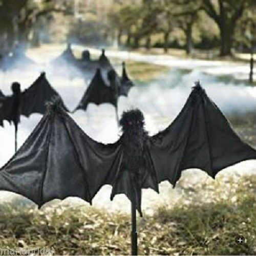 Set of 3 Huge 15ft Scary Bats Stakes Set W. Red Jewel Eyes Halloween Yard décor