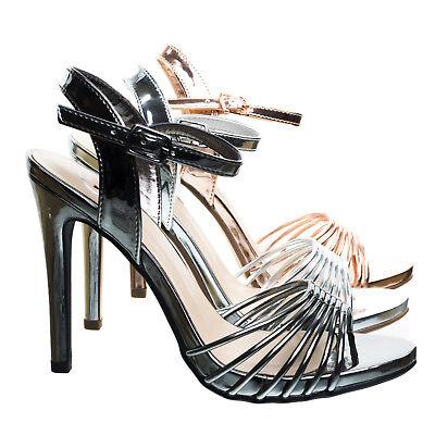 Telling Metallic High Heel Dress Sandal w Cage Strap. Women Evening Party Shoe - Metalic Strap High Heel