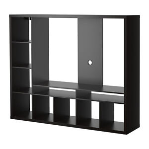 Black Wood TV Entertainment Stand