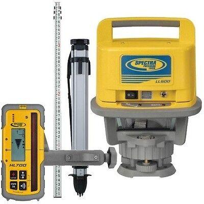 Spectra Precision Ll500-1 Laser Level W Hl700 Receiver 15 Rod Tenths Tripod