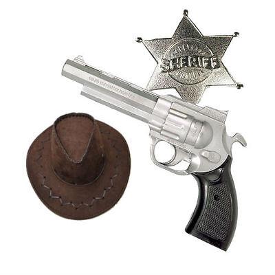3 Piece Rick Grimes Sheriff Fancy Dress Kit Gun Hat Badge Western Walking Dead
