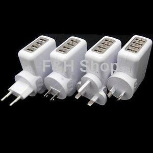 Multi-function 4-Port USB 2A AC Power AU/EU/US/UK Plug Home Wall Charger Adapter