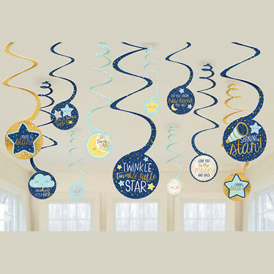 Twinkle Twinkle Little Star Party Decorations (BABY SHOWER Twinkle Twinkle Little Star HANGING SWIRLS (12) ~ Party)