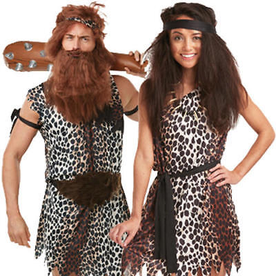 Caveman Adults Fancy Dress Cavewoman Mens Ladies Prehistoric Stone Age Costumes (Mens Caveman Kostüm)