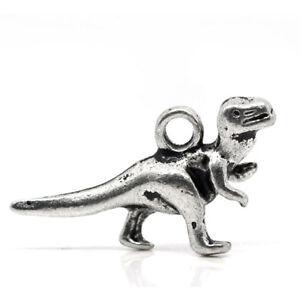 Packet of 10 x Antique Silver Tibetan 22mm Charms Pendants (Dinosaur) ZX05845