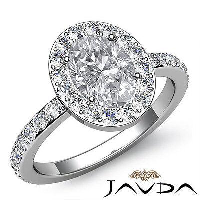 Circa Halo Pave Set Oval Shape Diamond Engagement Ring GIA F VS2 Clarity 1.85Ct