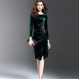 Emerald green velvet dress new