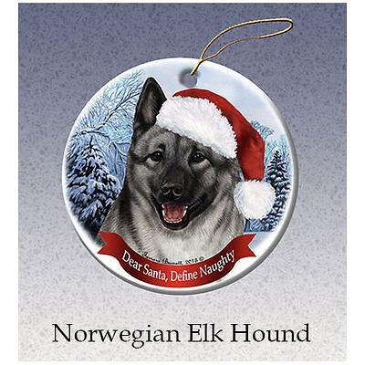 Norwegian Elkhound Howliday Porcelain China Dog Christmas Ornament