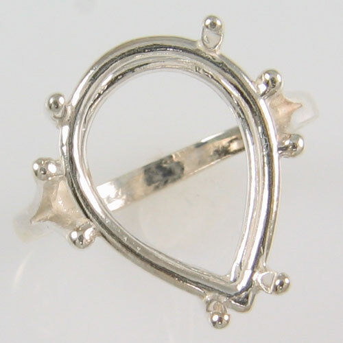 PRE-NOTCHED 18X13MM PEAR SOLITAIRE RING .925 STERLING SILVER CR180SS